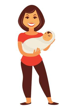 asian children: Young mother woman holding newborn baby child vector flat family