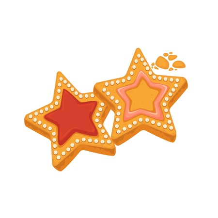 Star shape biscuits with caramel, framed by sugar dots
