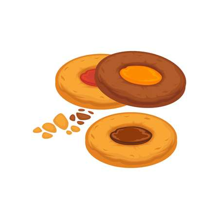 indulgence: Round biscuits with caramel and chocolate inside isolated on white.