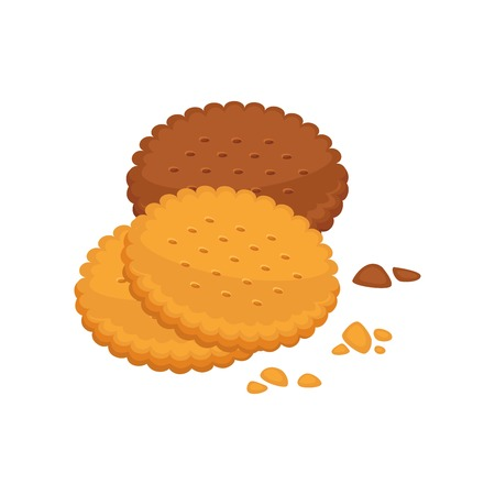 round shape: Chocolate and vanilla taste biscuit round shape with crumbs isolated