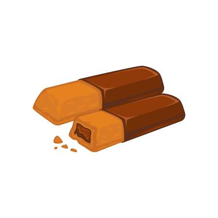 gateau: Bars of chocolate with biscuit inside stuffed with cacao filling Illustration