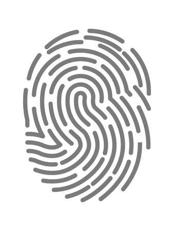 fingermark: Fingerprint twisted lines sign isolated on white vector illustration in flat design. Illustration