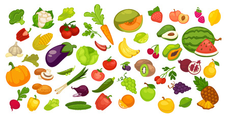 Natural organic fruit and vegetable collection on white. Vector colorful poster.