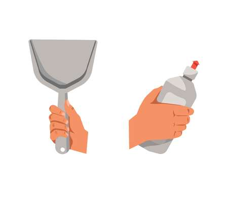 untidy: Hands holding shovel for cleaning and detergent in bottle Illustration