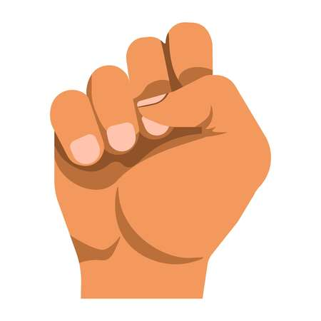 Human raised fist as mean of nonverbal communication that shows protest. Illustration