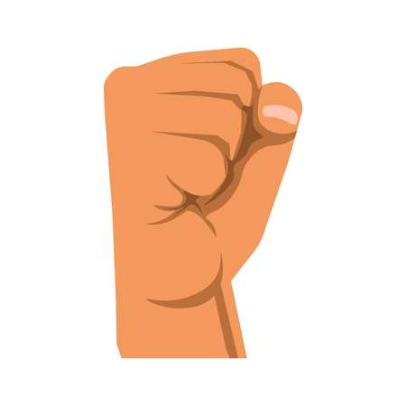disapproval: Human raised fist symbol of rebellion, militance, resistance and unity. Illustration