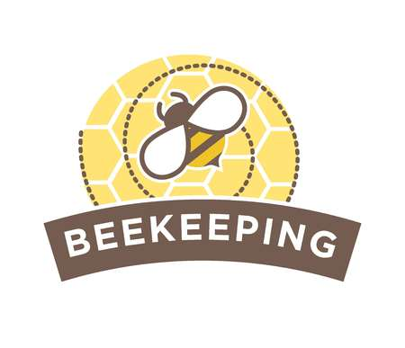 Beekeeping logo design with abstract bee on honeycomb isolated
