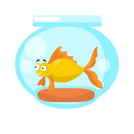 Golden fish in transparent aquarium isolated on white. Illustration
