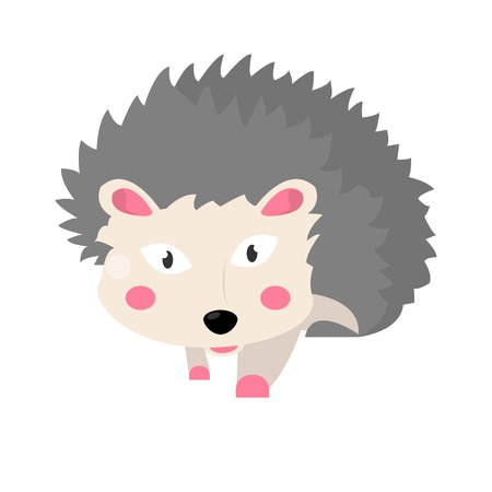 Hedgehog animal isolated on white vector flat illustration