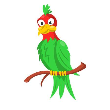Colorful parrot sitting on branch isolated on white Illustration