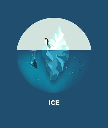 Ijsberg met pinguïnen rond logotype op blauwe achtergrond