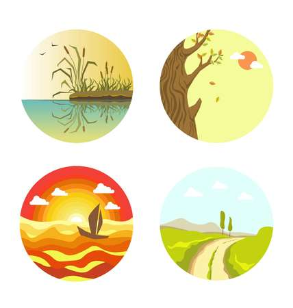 Nature views on four circles isolated on white Illustration