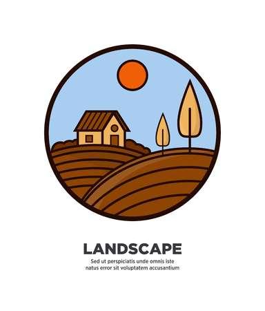 Rural nature landscape on round logotype isolated on white
