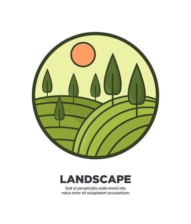 Landscape flat round logo icon isolated on white