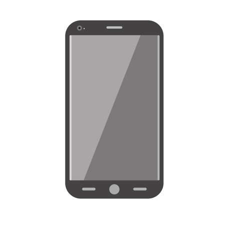 media gadget: Realistic mobile phone isolated on white. Communication device, smartphone.