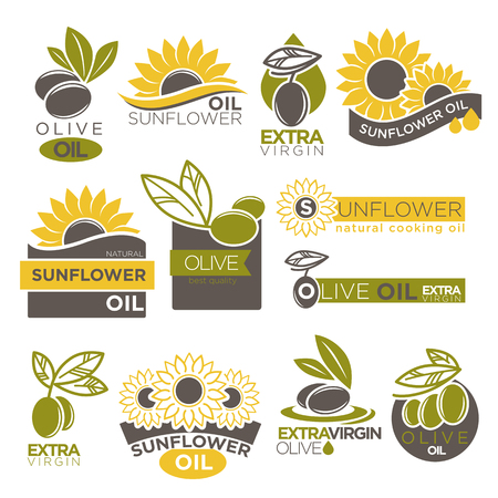 Olive and sunflower oil extra virgin flat logotype on white. Stok Fotoğraf - 75738536