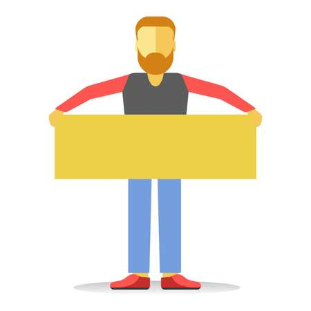 Anonymous faceless striking man with beard holding empty yellow banne Illustration