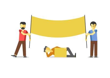 Striking man holding empty yellow banner isolated on white. Illustration