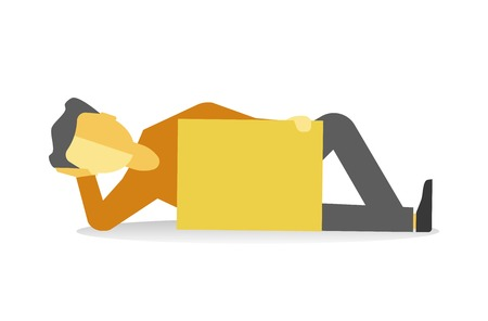 Person lying with empty banner isolated on white. Vector illustration