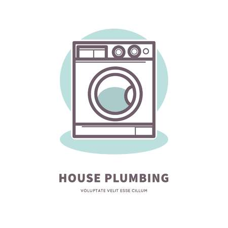 Washing machine icon house plumbing equipment logo vector illustration. Illustration