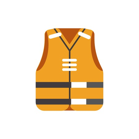 reflective: Safety orange vest protective uniform isolated on white vector picture