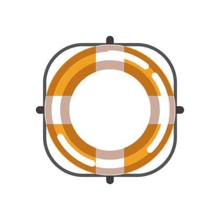 Lifebuoy isolated object on white vector flat illustration