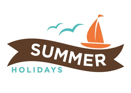Summer holidays logo with ship and seagulls isolated on white.