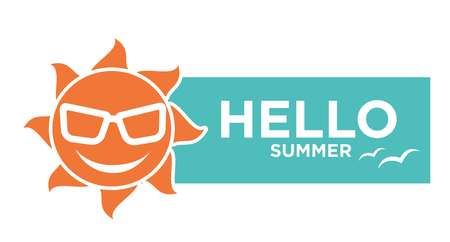 tropical: Hello summer holiday logo design isolated on white. Vector illustration
