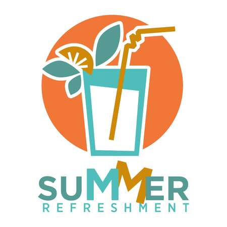 Summer refreshing cocktail with straw, fruits and mint logo on background of orange sun isolated on white. Glass with drink and decorative elements vector illustration, alcohol beverage icon in flat
