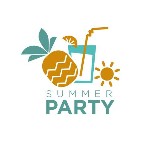 Summer party graphic logo emblem isolated on white. Vector colorful badge in flat design of cocktail glass with citrus slice and straw, pineapple fruit and sun tag. Entertaining holiday concept