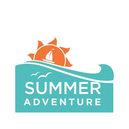 waves: Summer holidays logo design with ship and seagulls isolated on white. Vector logotype label in adventure travelling concept, advertising emblem in flat style with yacht and birds in the sky