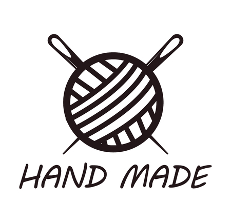 Handmade logotype design with skein of thread and needle. Ball yarn with two knitting needles. Workshop company logo isolated emblem in black and white colors vector illustration in flat style