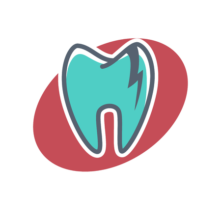 Dental logo on oval shape violet background. Dentistry icon, toothpaste advertisement. Logotype for stomatology clinic. Odontology emblem vector illustration, tooth implant sign. Ideal smile concept