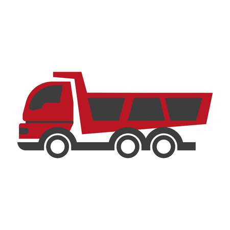 Haul or dump truck logo in black and red colors icon. Dumper and tipper symbol in flat style design. Mining and construction machinery, industrial lorry for material transportation vector illustration Illustration