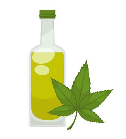leaf: Hemp oil in bottle. Vector flat isolated icon