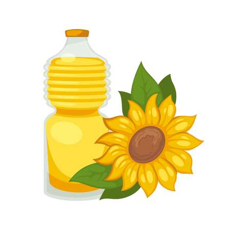 cooking oil: Sunflower oil in bottle. Vector flat isolated icon Illustration
