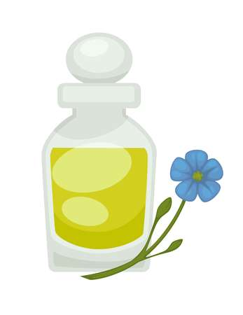 Flax or linseed oil in bottle. Vector flat isolated icon