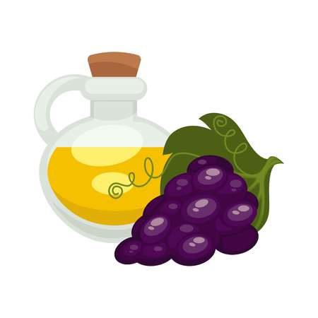 agriculture industry: Grape seed oil in bottle. Vector flat isolated icon