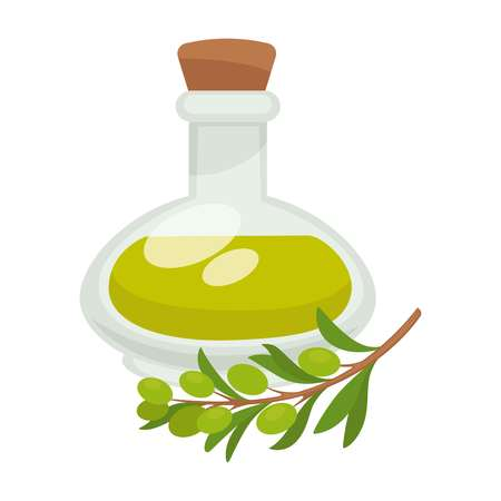 Olive oil in bottle. Vector flat isolated icon