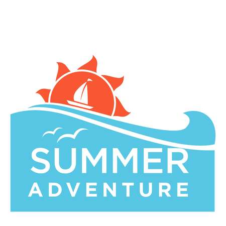 adventure holiday: Summertime holiday travel adventure vector ocean waves and sun