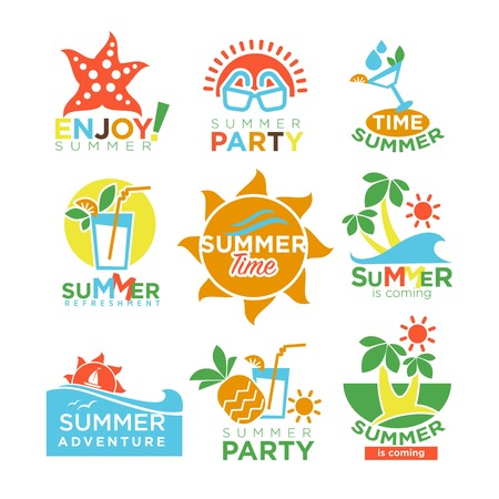 summertime: Summer holidays and travel adventure or party vector design set