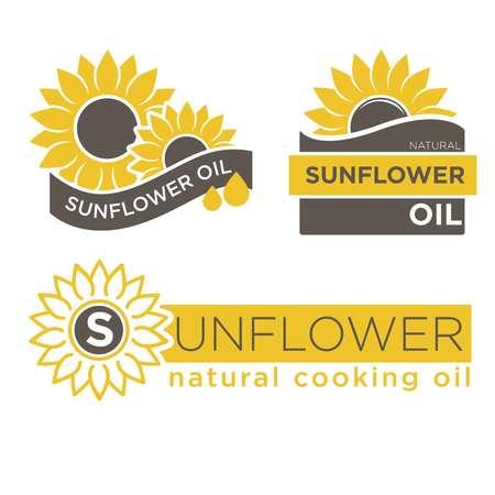 Logosjablonen van zonnebloemolieproducten. Natuurlijk koken olie vector geïsoleerd ontwerp voor fles pakket labels
