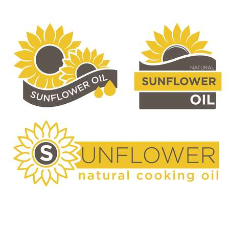 Modèles de logos de produits pour huiles de tournesol. Conception isolée de vecteur d'huile de cuisine naturelle pour étiquettes de colis de bouteilles Banque d'images - 75826658