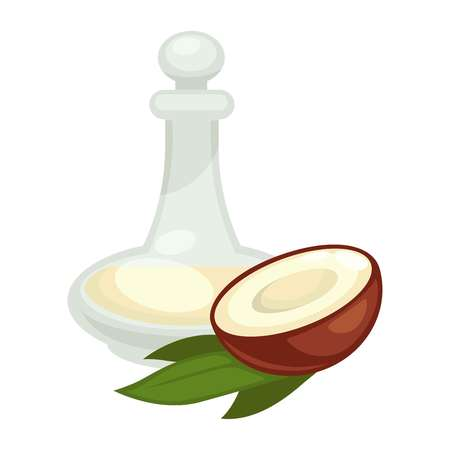 A Coconut oil in bottle. Vector flat isolated icon