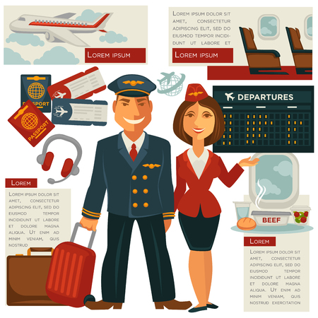 air travel: Air travel and aircraft staff or vector cabin crew occupation