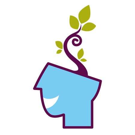 tree symbol: Psychology abstract conceptual symbol of vector human head and tree