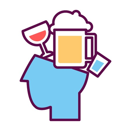 in vain: Psychology abstract conceptual symbol of vector human head and alcohol