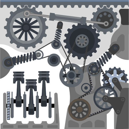 car engine: Car engine mechanism vector automobile motor details
