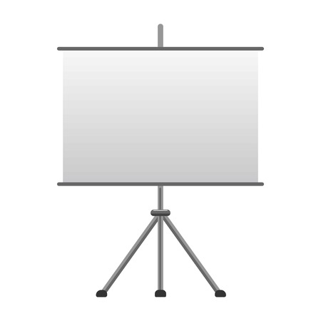 metalic design: Advertising tripod board with paper isolated vector illustration on white background. Demonstration or preparation empty flip-chart billboard, exhibition display equipment in flat design