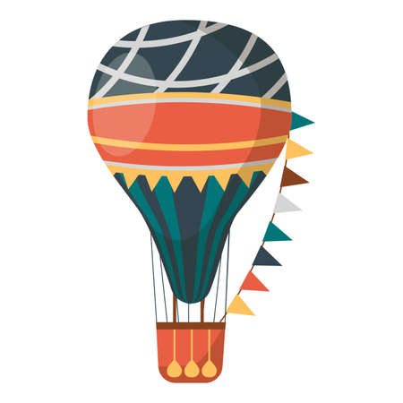 Air balloon decorated with flags isolated on white background. Transportation item with basket and heavy bags. Vintage transport for short distance journey vector illustration in style design Illustration